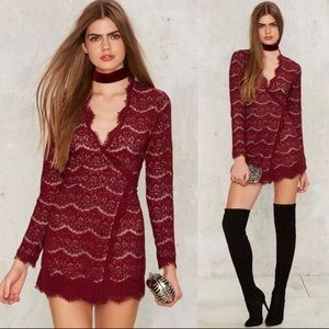 Nasty Gal Women's Long Sleeve Lace Wrap Mini Dress